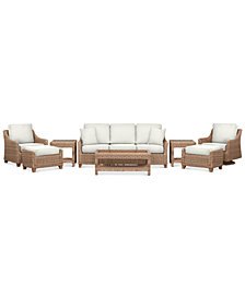 Willough Outdoor 8-Pc. Set (1 Sofa, 1 Club Chair, 1 Swivel Glider, 1 Coffee Table, 2 Ottomans & 2 End Tables), Created for Macy's