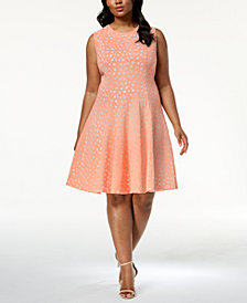 Calvin Klein Plus Size Laser Cut Fit & Flare Dress