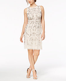 Adrianna Papell Flower-Beaded A-Line Dress