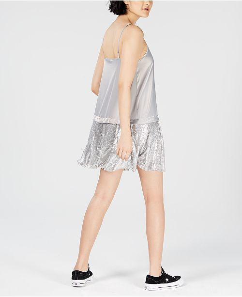 Macy's Silver Created Mesh for NICOPANDA Slip Hem Dress zY8Sq