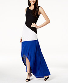 I.N.C. Petite Colorblocked High-Low Maxi Dress, Created for Macy's