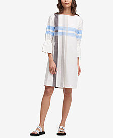 DKNY Cotton Bell-Sleeve Plaid-Print Dress