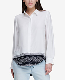 DKNY Printed High-Low Shirt
