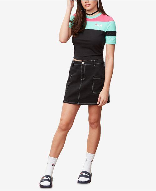 280601a88b52e4 Fila Maya Colorblocked Cropped T-Shirt   Reviews - Tops - Women - Macy s