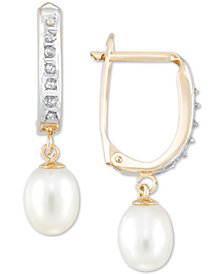 Diamond Fascination™ Cultured Freshwater Pearl (6mm) & Diamond Accent Hoop Earrings