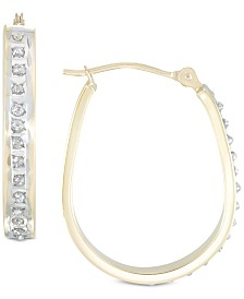 Diamond Fascination™ Diamond Accent Pear-Shape Hoop Earrings