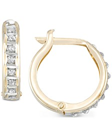 Diamond Accent Hoop Earrings in 10k Gold