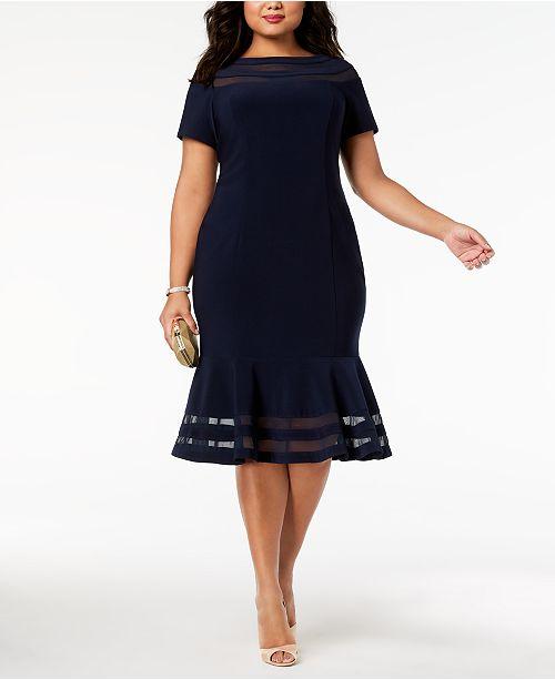 XSCAPE Plus Size Illusion-Stripe Flounce Dress & Reviews ...