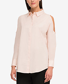DKNY Cotton Cold-Shoulder Shirt, Created for Macy's