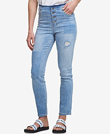 DKNY Ripped Button-Fly Skinny Jeans