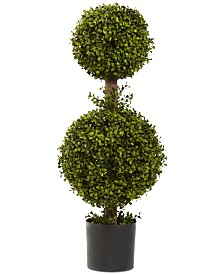 "Nearly Natural 35"" Double Boxwood Topiary"
