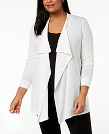 Calvin Klein Plus Size Open-Front Mesh Cardigan