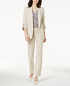 Nine West Roll-Tab Flyaway Blazer, Ruffle-Sleeve Blouse & Pants