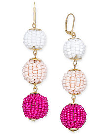 I.N.C. Gold-Tone Beaded Ball Triple Drop Earrings, Created for Macy's