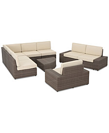 Brayden Outdoor 9-Pc. Sectional Set, Quick Ship