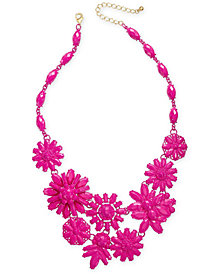 "I.N.C. Gold-Tone Beaded Flower Statement Necklace, 18"" + 3"" extender, Created for Macy's"