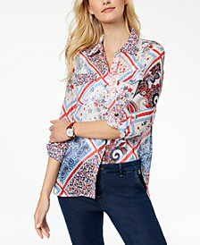 Tommy Hilfiger Patchwork-Print Shirt, Created for Macy's