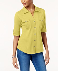 Style & Co Petite Jersey Utility Shirt, Created for Macy's