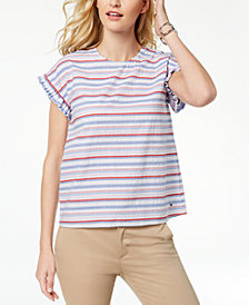Tommy Hilfiger Striped Cotton Ruffled-Sleeve Top
