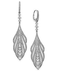 Danori Crystal & Pavé Leaf Drop Earrings, Created for Macy's