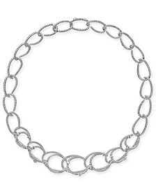 "Danori Silver-Tone Pavé Link 16"" Collar Necklace, Created for Macy's"