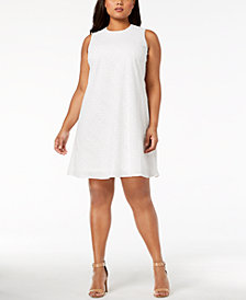 Calvin Klein Plus Size Cotton Eyelet Trapeze Dress