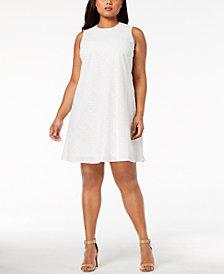 Calvin Klein Plus Size Cotton Eyelet Trapeze Dress