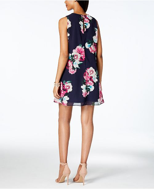 Dress Nvy Petite Print Howard Floral Jessica Trapeze THXqFX