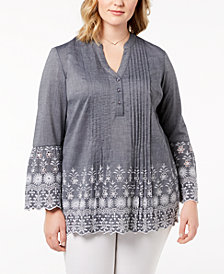 Style & Co Plus Size Cotton Chambray Pintuck Eyelet-Trim Top, Created for Macy's