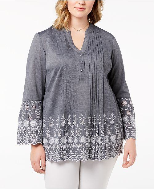 506e34f5b096e Style   Co Plus Size Cotton Chambray Pintuck Eyelet-Trim Top ...