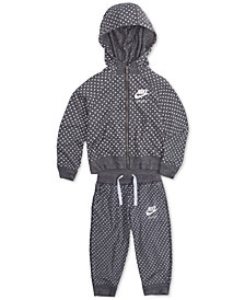 Nike Dot-Print Zip-Up Hoodie & Capri Pants, Little Girls