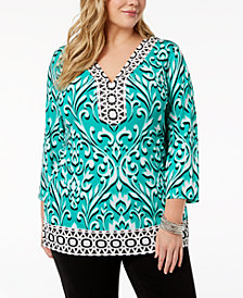 JM Collection Plus Size Printed 3/4-Sleeve Tunic, Created for Macy's