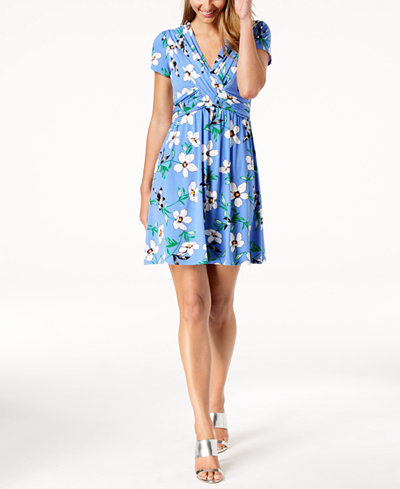 Vince Camuto Floral-Print Ruched Fit & Flare Dress