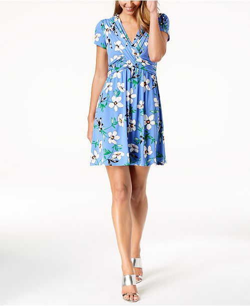 3845d543057a Vince Camuto Floral-Print Ruched Fit   Flare Dress   Reviews ...