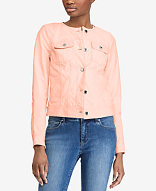 Lauren Ralph Lauren Petite Leather Trucker Jacket