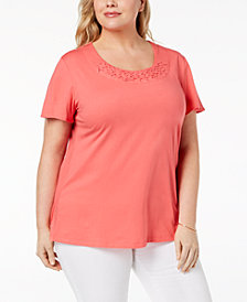 Karen Scott Plus Size Basketweave-Trim T-Shirt, Created for Macy's