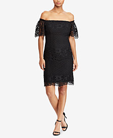 Lauren Ralph Lauren Lace Off-The-Shoulder Dress, Regular & Petite Sizes