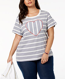 Tommy Hilfiger Plus Size Striped Heart Top, Created for Macy's