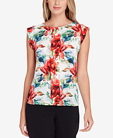 Tahari ASL Pleat-Front Chiffon Blouse, Regular & Petite