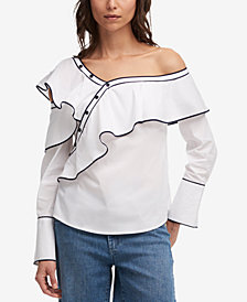 DKNY One-Shoulder Ruffled Shirt