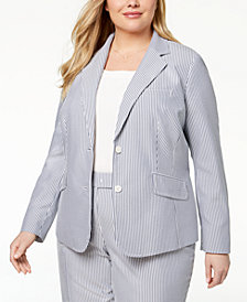 Anne Klein Plus Size Double-Button Striped Blazer
