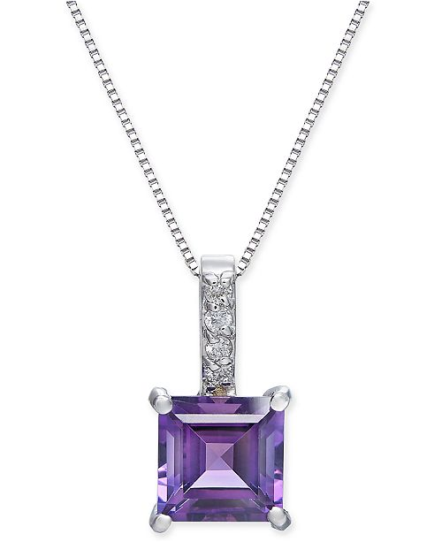 "Macy's Amethyst (1-3/4 ct. t.w.) & Diamond Accent 18"" Pendant Necklace in 14k White Gold"