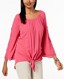 JM Collection Petite Crochet-Trim Tie-Front Top, Created for Macy's