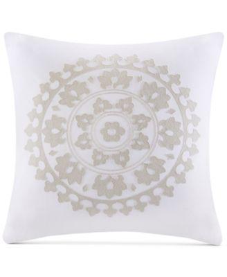 "Marco Embroidered Cotton 18"" x 18"" Square Decorative Pillow"
