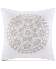 "Echo Marco Embroidered Cotton 18"" x 18"" Square Decorative Pillow"