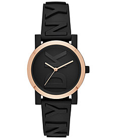 DKNY Women's SoHo Black Silicone Strap Watch 34mm, Created for Macy's