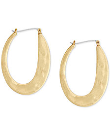 Lucky Brand Gold-Tone Abstract Hoop Earrings