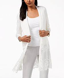 Alfani Open-Front Lace-Hem Midi Cardigan, Created for Macy's