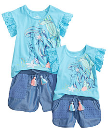 Ariel Graphic-Print Top & Shorts Separates, Baby & Little Girls
