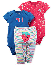 Carter's 3-Pc. Cotton Sweet Strawberry Bodysuits & Pants Set, Baby Girls